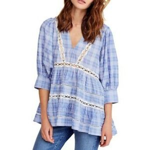 NWT Free People Swingy Shirt BlueChambray Combo XS
